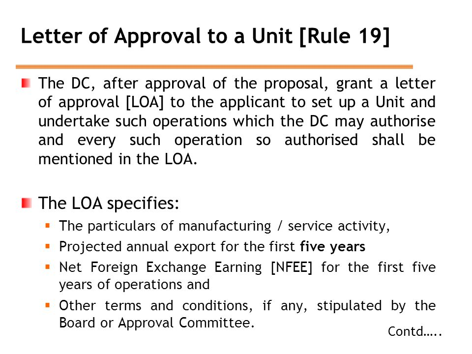 Letter of Approval to a Unit [Rule 19]